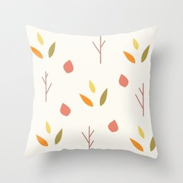 Vintage Minimalist Fall Leaves And Branches Throw Pillow