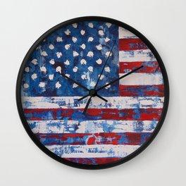 Distressed American Flag vertical hang Wall Clock