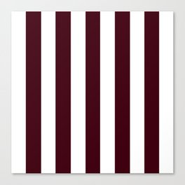 Chocolate brown - solid color - white vertical lines pattern Canvas Print