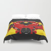 pacific rim Duvet Covers featuring Pacific Rim - Crimson Typhoon - Minimal Poster by John Takacs