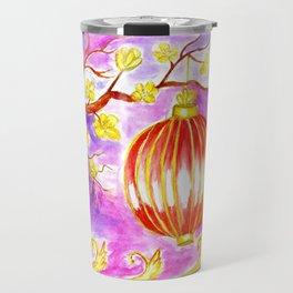 Oriental lantern Purple sky Travel Mug