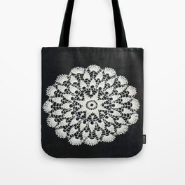 beige black lace Tote Bag