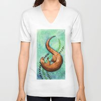 otter V-neck T-shirts featuring Otter by Georgia Roberts