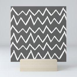 Hand-Drawn Zig Zag (White & Grey Pattern) Mini Art Print
