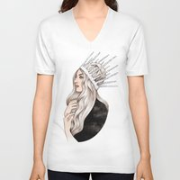 silver V-neck T-shirts featuring Silver Blonde by Helen Green