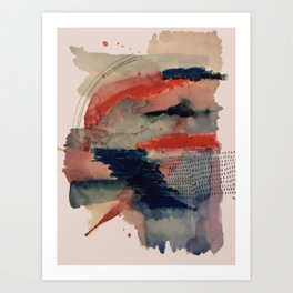 Independent: a red and blue abstract watercolor Kunstdrucke