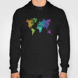 World map in watercolor rainbow Hoody
