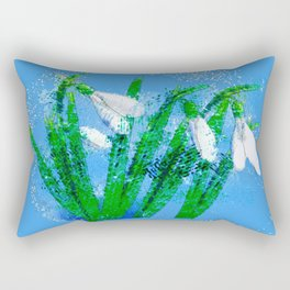 Digital Watercolor snowdrops Rectangular Pillow