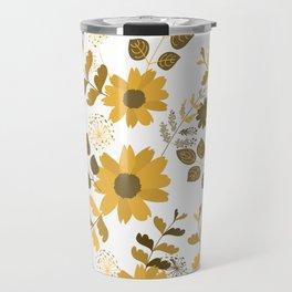 Big Yellow and Brown Flowers Travel Mug
