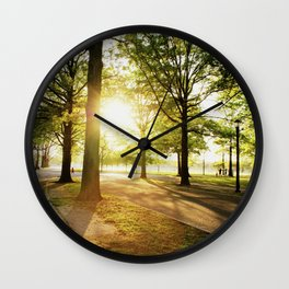 Sunshine through the Trees at Flushing Meadows Park Wall Clock