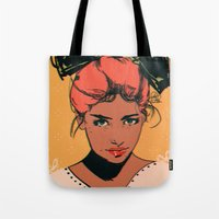 bow Tote Bags featuring bow by Galvanise The Dog