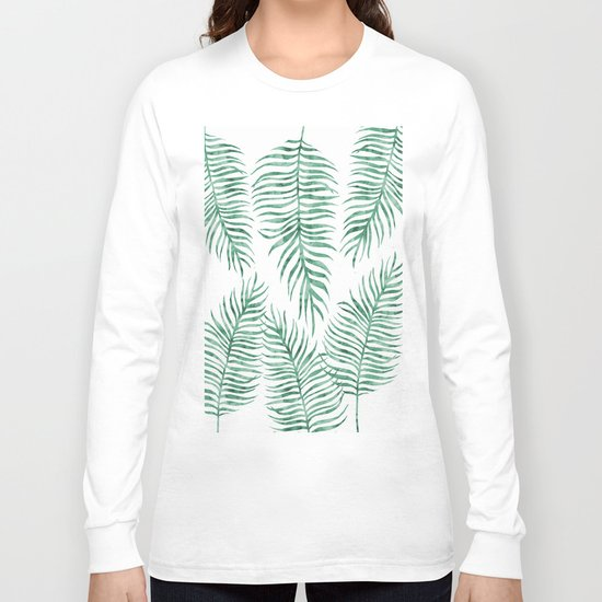 Fern Pattern Green Long Sleeve T-shirt