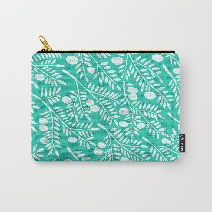 Turquoise Olive Branches Carry-All Pouch