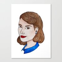 peggy carter Canvas Prints featuring Watercolour Peggy Carter by HayPaige