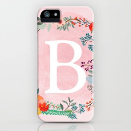 Flower Wreath with Personalized Monogram Initial Letter B on Pink Watercolor Paper Texture Artwork iPhone Case