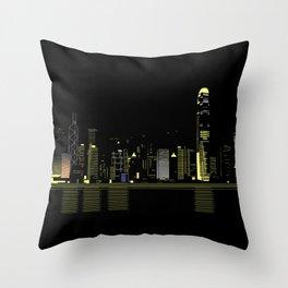 Hongkong Night Scene Throw Pillow