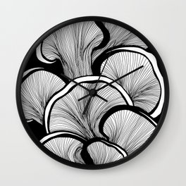 Mushrooms in black and white Wall Clock