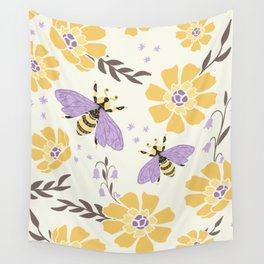 Honey Bees and Flowers - Yellow and Lavender Purple Wall Tapestry