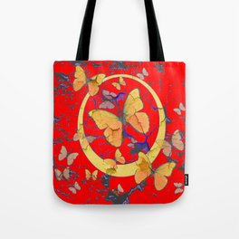 SHABBY CHIC GOLDEN BUTTERFLIES & RED ABSTRACT ART Tote Bag