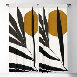 MINIMAL TROPICAL ART - LEAF AND SUN 03 Blackout Curtain