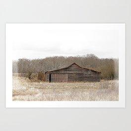 Weathered Prairie Barn in Early Spring Art Print