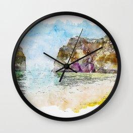 Aquarelle sketch art. Big rocks the ocean on beach, Praia da Rocha, Rock Beach, Portugal Wall Clock