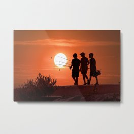 Three Boys Gone Fishing at Sunset Metal Print