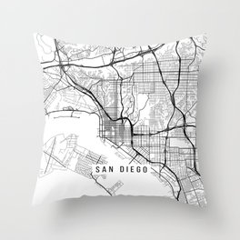 Map Throw Pillows Society - Black and white usa map