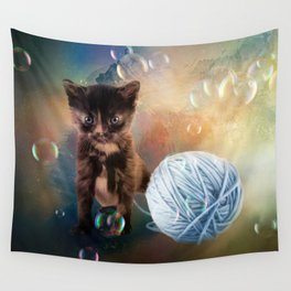 Playful cute black kitten Wall Tapestry