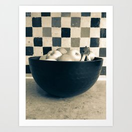 Bowl of fruit in black and white Art Print