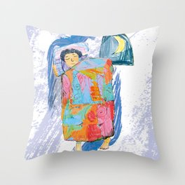 Sleeping and dreaming illustration, design for children Throw Pillow