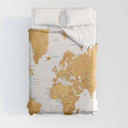 For God so loved the world, world map in gold Duvet Cover