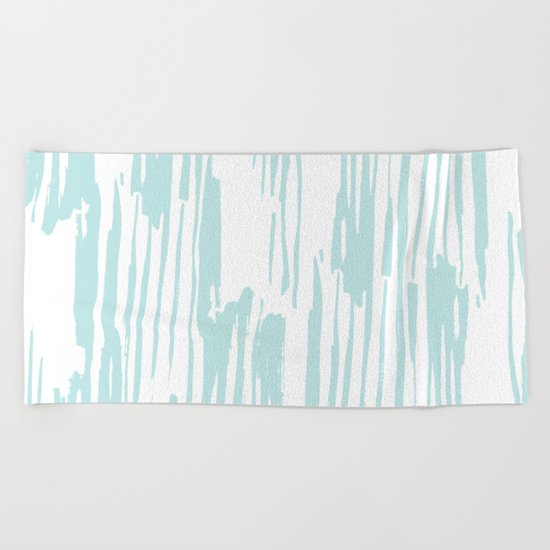 Bamboo Stripe White on Succulent Blue Beach Towel