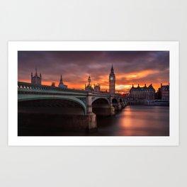 London's burning sky Art Print