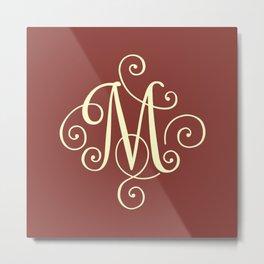 M Monogram - Red Metal Print
