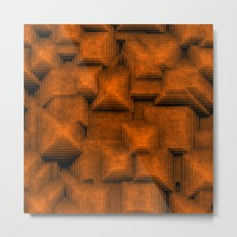 Abstract brown pyramids Metal Print