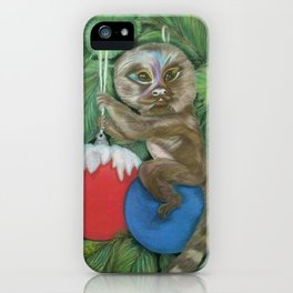 Pygmy Marmoset in the Festive Christmas Tree iPhone Case