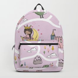 Childish seamless pattern with princess and dragon Backpack