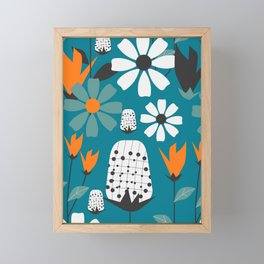 Joyful florescence in blue Framed Mini Art Print