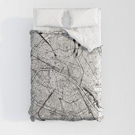 Paris White Map Comforters