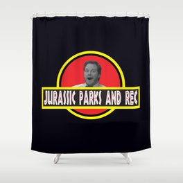 Jurassic Parks And Rec Shower Curtain