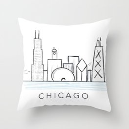 Chicago Skyline Print Throw Pillow