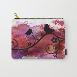 Black birds silhouette on a branch Carry-All Pouch
