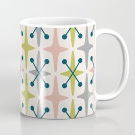 Mid Century Modern Abstract Star Pattern 222 Teal Chartreuse Dusty Rose and Gray Coffee Mug