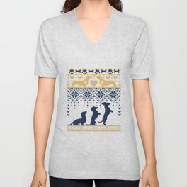 Fair Isle Knitting Doxie Love // navy blue background white and yellow dachshunds dogs bones paws and hearts Unisex V-Neck
