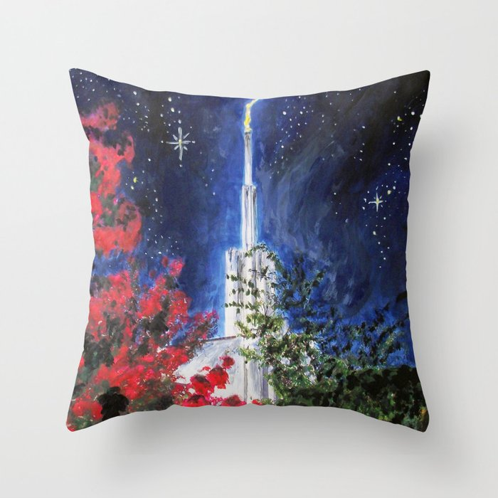 Atlanta Georgia LDS Temple Night Flowers Throw Pillow By Bekablo