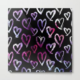 Wall of Hearts Metal Print