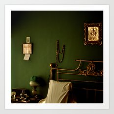 Green and Gold Bedroom Art Print