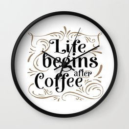 Life Begins After Coffee Sign | Thin Font | Farmhouse Style | Mother's Day Gift, Coffee Bar Sign | H Wall Clock
