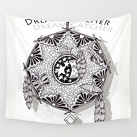 zentangle Wall Tapestries featuring Zentangle Dreamcatcher by Vermont Greetings